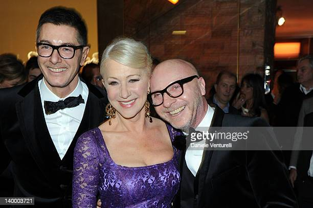 Stefano Gabbana Helen Mirren and Domenico Dolce attend Dolce Gabbana Cocktail Party at the Gold Restaurant as part of Milan Womenswear Fashion Week...