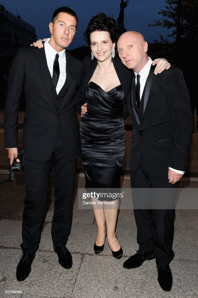 Stefano Gabbana, Juliette Binoche and Domenico Dolce arrive at the Dolce & Gabbana '20 Years of Menswear' dinner on June 19, 2010 in Milan, Italy.