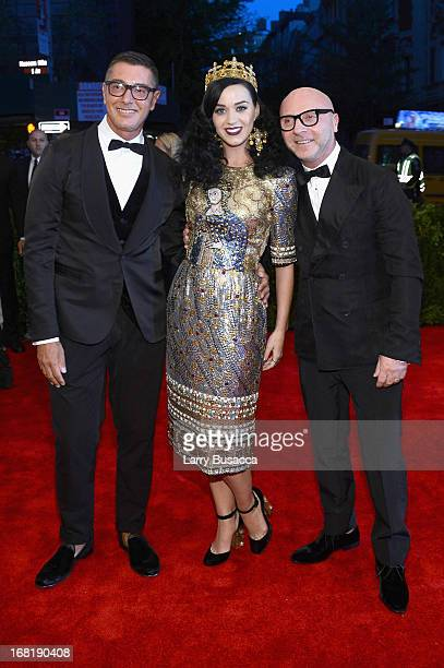 Stefano Gabbana Katy Perry and Domenico Dolce attend the Costume Institute Gala for the 'PUNK Chaos to Couture' exhibition at the Metropolitan Museum...