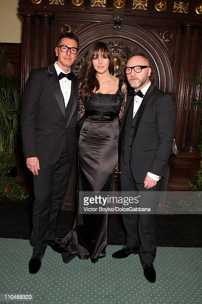 Stefano Gabbana Monica Bellucci and Domenico Dolce attend the DolceGabbana and Martini dinner at the Italian Ambassador's residence on March 17 2011...