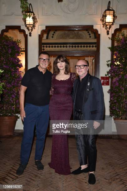 Stefano Gabbana Monica Bellucci and Domenico Dolce attend the red carpet of the closing night of the Taormina Film Festival on July 18 2020 in...