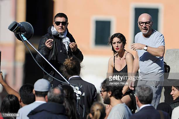 Stefano Gabbana Monica Bellucci and Domenico Dolce sighting on the set of a Dolce Gabbana commercial on October 21 2011 in Portofino Italy
