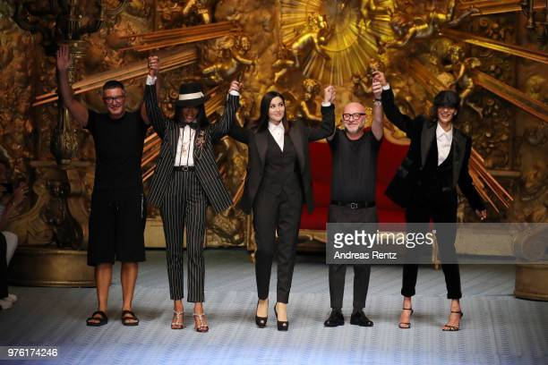 Stefano Gabbana Naomi Campbell Monica Bellucci Domenico Dolce and Marpessa Hennink walk the runway at the Dolce Gabbana show during Milan Men's...