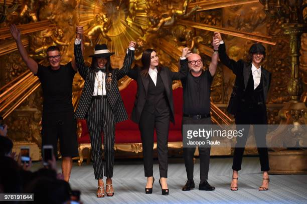 Stefano Gabbana Naomi Campbell Monica Bellucci Domenico Dolce and Marpessa walk the runway at the Dolce Gabbana show during Milan Men's Fashion Week...