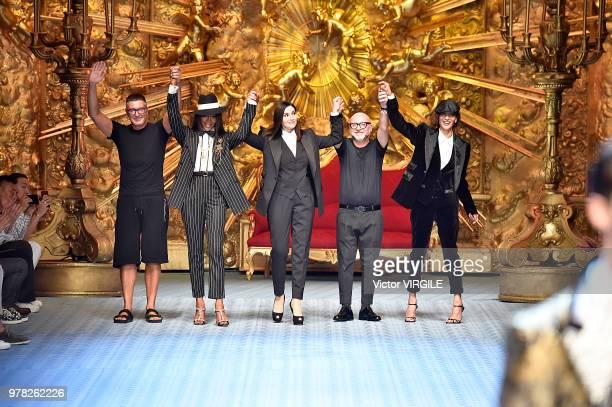 Stefano Gabbana Naomi Campbell Monica Bellucci Domenico Dolce and Marpessa Hennink walks the runway at the Dolce Gabbana show during Milan Men's...