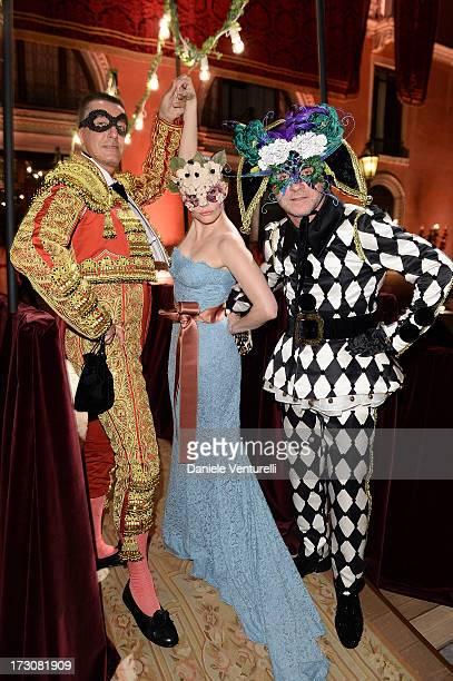 Stefano Gabbana Rose McGowan and Domenico Dolce attends the 'Ballo in Maschera' to Celebrate DolceGabbana Alta Moda at Palazzo Pisani Moretta on July...