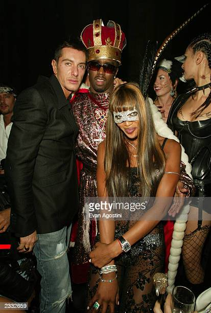 Stefano Gabbana Sean P Diddy Combs and Naomi Campbell at Dolce Gabbana's Halloween Party at Cipriani 42nd Street in New York City October 31 2002...