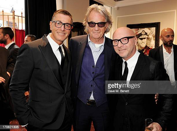 Stefano Gabbana Sir Paul Smith and Domenico Dolce attend the opening of the new Dolce Gabbana men's store with a preview of the Summer 2014 Tailoring...