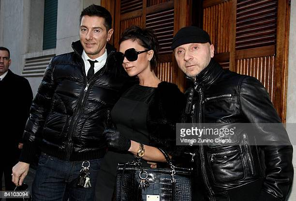 Stefano Gabbana Victoria Beckham and Domenico Dolce are seen December 21 2008 in Milan Italy