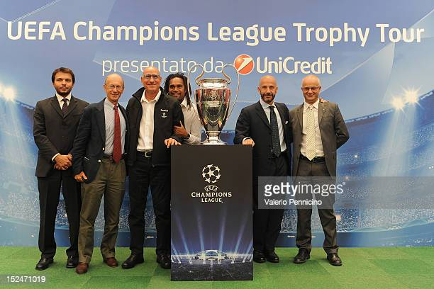 Stefano Gallo Alberto Cerruti Francesco Graziani Christian Karembeu Gianluca Vialli and Giovanni Forestiero pose with the UEFA Champions League...