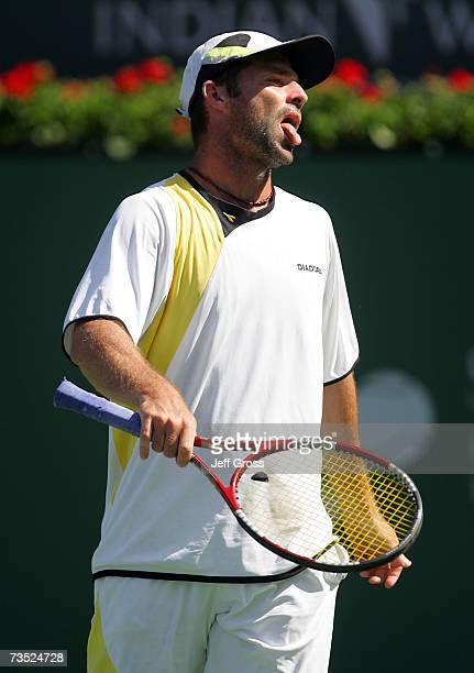 Stefano Galvani of Italy reacts to a lost point against Rainer Schuettler during the Pacific Life Open on March 8 2007 at the Indian Wells Tennis...