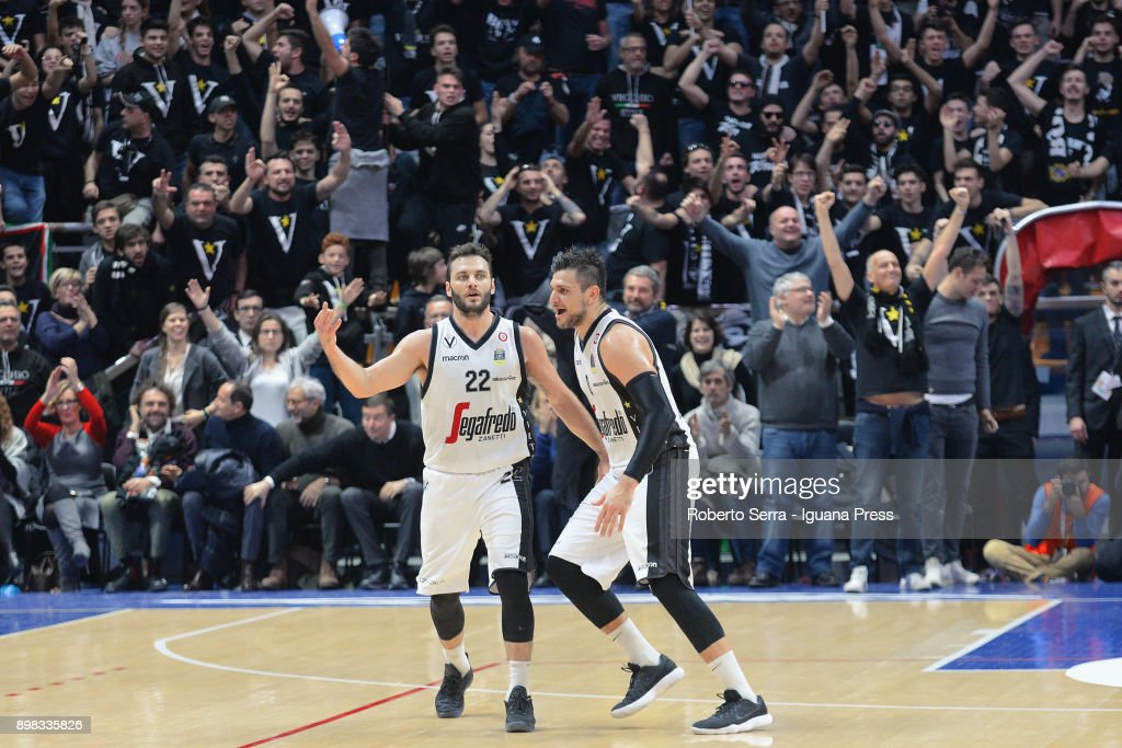 Stefano Gentile (L) and Alessandro Gentile (R) of Segafredo celebrates during the LBA LegaBasket of serie A match between Virtus Segafredo Bologna and Auxilium Fiat Torino at PalaDozza on December 17, 2017 in Bologna, Italy.