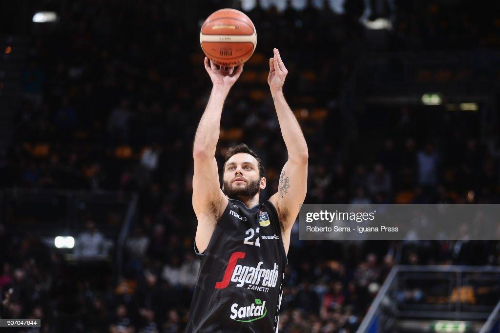 Stefano Gentile of Segafredo in action during the LBA LegaBasket of Serie A match between Virtus Segafredo Bologna and Grissin Bon Reggio Emilia at PalaDozza on January 13, 2018 in Bologna, Italy.