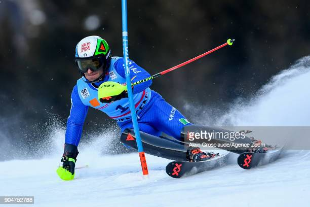 Stefano Gross of Italy competes during the Audi FIS Alpine Ski World Cup Men's Slalom on January 14 2018 in Wengen Switzerland