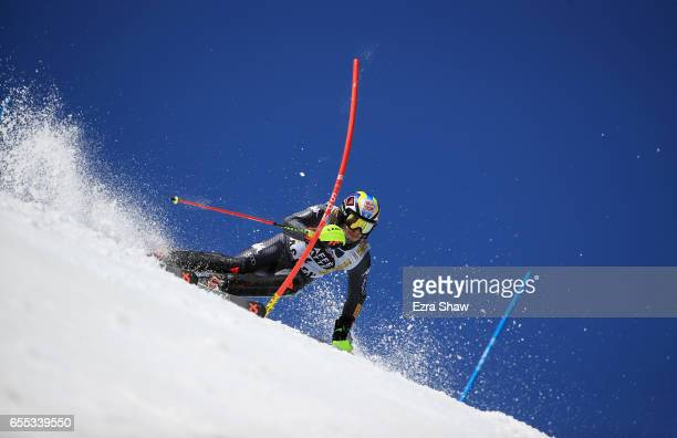 Stefano Gross of Italy skis his second run in the men's slalom during the 2017 Audi FIS Ski World Cup Finals at Aspen Mountain on March 19 2017 in...