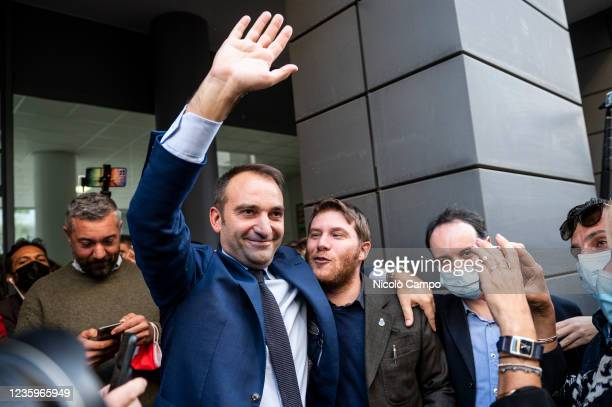 Stefano Lo Russo celebrates after his victory at run-off of Turin municipal election over centre right coalition candidate Paolo Damilano. Stefano Lo...