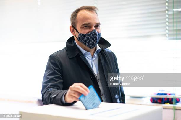 Stefano Lo Russo, Mayor of Turin candidate for centre-left coalition, casts his ballot at a polling station during the run-off of election to choose...