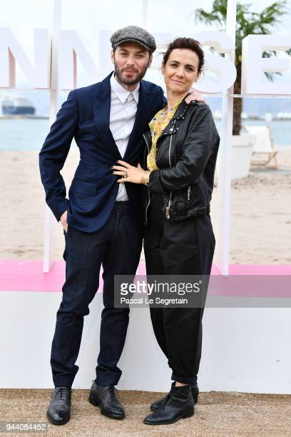 Stefano Lodovichi and Camilla Filippi attend Il Cacciatore Photocall during the 1st Cannes International Series Festival on April 10 2018 in Cannes...