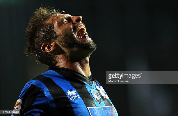 Stefano Lucchini of Atalanta BC celebrates after scoring the second goal during the Serie A match between Atalanta BC and Torino FC at Stadio Atleti...