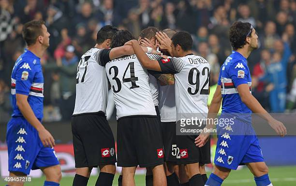 Stefano Lucchini of Cesena celebrates after scoring the opening goal during the Serie A match between AC Cesena and UC Sampdoria at Dino Manuzzi...