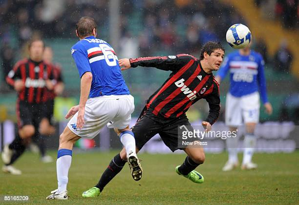 Stefano Lucchini of Sampdoria and Pato of Milan during the Serie A match between Sampdoria and Milan at the Stadio Marassi on March 01, 2009 in...