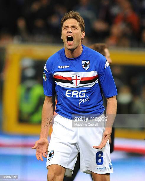 Stefano Lucchini of UC Sampdoria celebrates the victory the Serie A match between UC Sampdoria and Genoa CFC at Stadio Luigi Ferraris on April 11,...