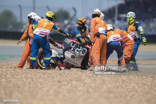 Stefano Manzi of Italy and Forward Racing Team crashed out during the Moto2 race during the MotoGP Of Thailand Race on October 7 2018 in Buri Ram...