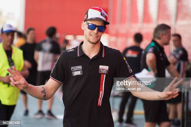 Stefano Manzi of Italy and Forward Racing Team greets and walks in paddock during the MotoGp of Argentina Previews on April 5 2018 in Rio Hondo...