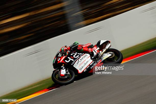 Stefano Manzi of Italy and Forward Racing Team rides in qualifying during the MotoGP of Germany at Sachsenring Circuit on July 14 2018 in...