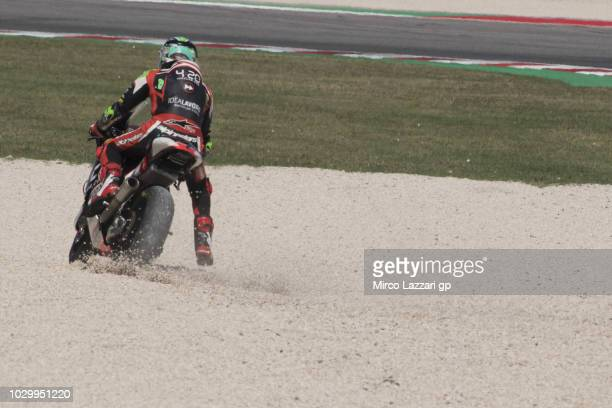 Stefano Manzi of Italy and Forward Racing Team rides out of track during the Moto2 race during the MotoGP of San Marino Race at Misano World Circuit...