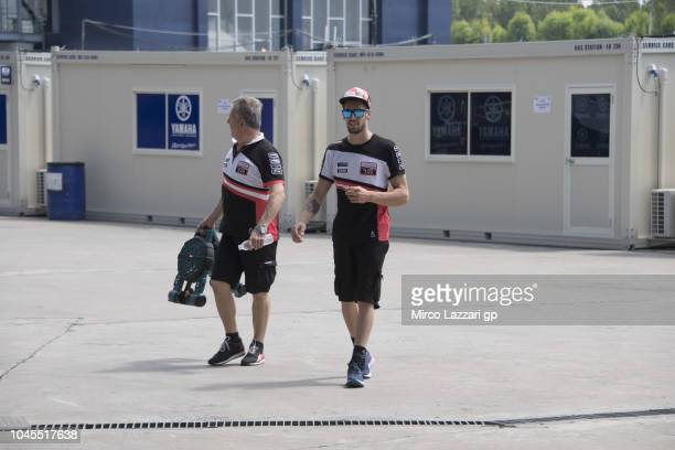 Stefano Manzi of Italy and Forward Racing Team walks in paddock during the MotoGP Of Thailand Previews on October 4 2018 in Buri Ram Thailand