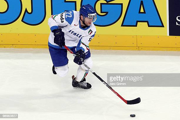 Stefano Margoni of Italy in action during the IIHF World Championship group B match between Switzerland and Italy at SAP Arena on May 10 2010 in...