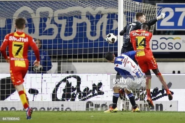 Stefano Marzo of Heerenveen Erwin Mulder of Heerenveen Darren Maatsen of Go Ahead Eaglesduring the Dutch Eredivisie match between sc Heerenveen and...