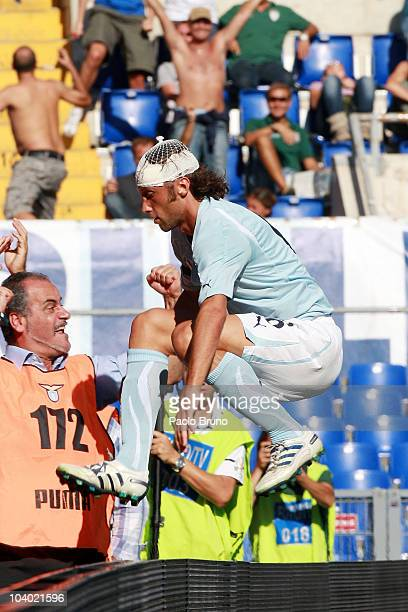 Stefano Mauri of SS Lazio celebrates scoring a goal during the Serie A match between Lazio and Bologna at Stadio Olimpico on September 12, 2010 in...