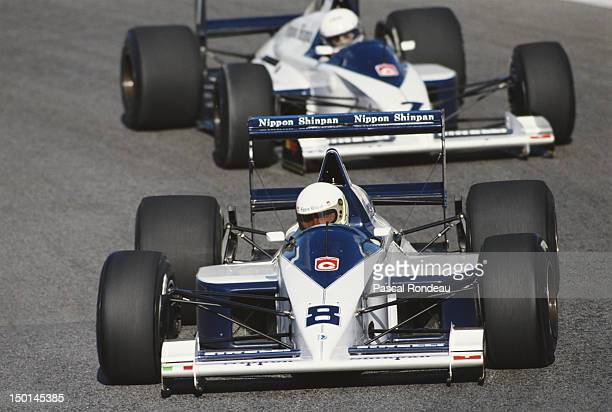 Stefano Modena of Italy drives the Motor Racing Developments Brabham BT58 Judd V8 ahead of his team mate Martin Brundle during the Portuguese Grand...