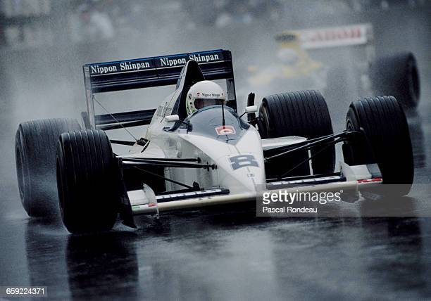 Stefano Modena of Italy drives the Motor Racing Developments Brabham BT58 Judd V8 in the rain during the Australian Grand Prix on 5 November 1989 at...
