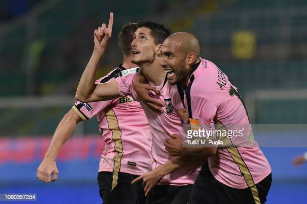 Stefano Moreo of Palermo celebrates after scoring his team's third goal during the Serie B match between US Citta di Palermo and Pescara Calcio at...