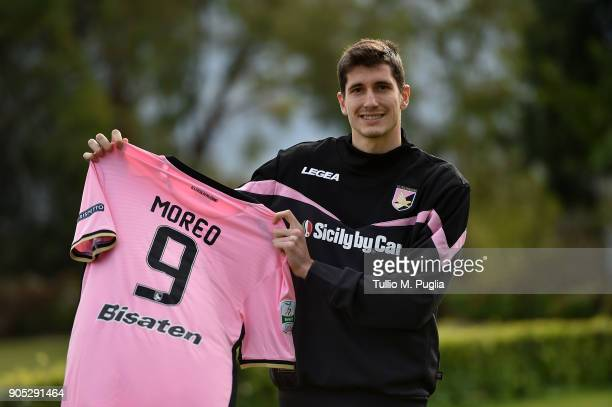 Stefano Moreo poses during his presentation as new player of US Citta' di Palermo at Carmelo Onorato training center on January 15 2018 in Palermo...