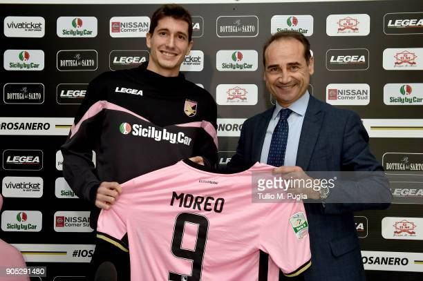 Stefano Moreo poses with Sport Director Fabio Lupo during his presentation as new player of US Citta' di Palermo at Carmelo Onorato training center...