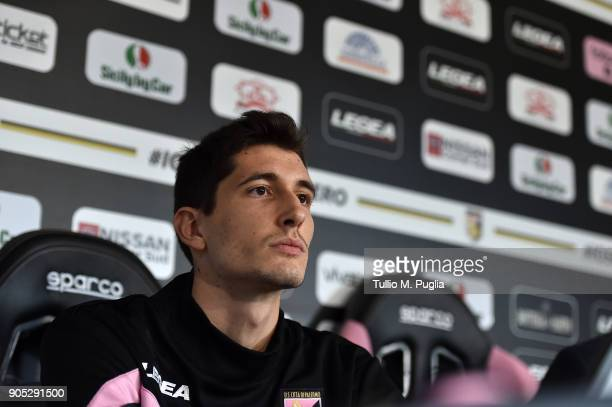 Stefano Moreoanswers questions during his presentation as new player of US Citta' di Palermo at Carmelo Onorato training center on January 15 2018 in...
