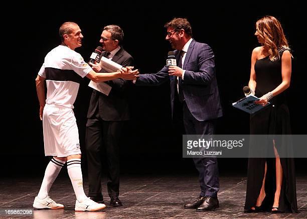 Stefano Morrone Alessandro Bonan Pietro Leonardi and Federica Masolin attend the unveling of the new Parma FC club strip at Teatro Regio on June 3...