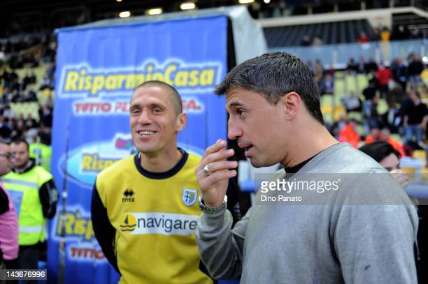 Stefano Morrone and Hernan Crespo of Parma chat before the Serie A match between Parma FC and FC Internazionale Milano at Stadio Ennio Tardini on May...