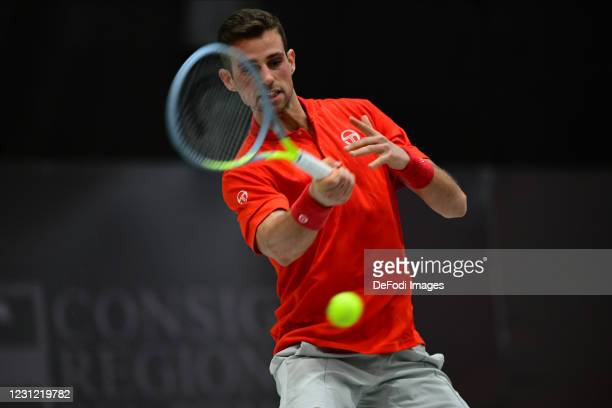 Stefano Napolitano of Italy controls the ball during the Biella ATP Challenger 125 Qualification between Daniel Mausur and Luca Vanni at Palapajetta...