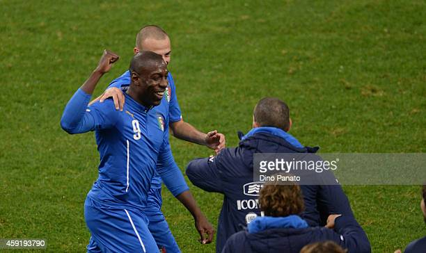 Stefano Okaka of Italy celebrates his opening goal with his teams mate Luca Antonelli during the International Friendly match between Italy and...