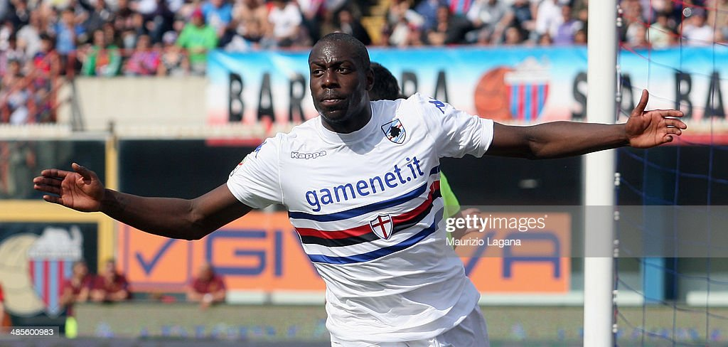 Stefano Okaka of Sampdoria celebrates after scoring his team's equalizing goal during the Serie A match between Calcio Catania and UC Sampdoria at Stadio Angelo Massimino on April 19, 2014 in Catania, Italy.