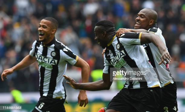 Stefano Okaka of Udinese Calcio celebrates after scoring his team's third goal during the Serie A match between Udinese and SPAL at Friuli Stadium on...