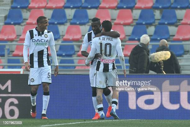 Stefano Okaka of Udinese Calcio celebrates after scoring the opening goal during the Serie A match between Bologna FC and Udinese Calcio at Stadio...