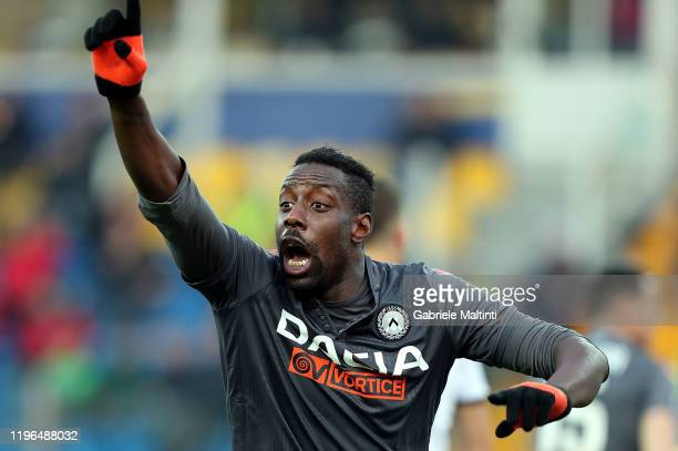 Stefano Okaka of Udinese Calcio gestures during the Serie A match between Parma Calcio and Udinese Calcio at Stadio Ennio Tardini on January 26 2020...