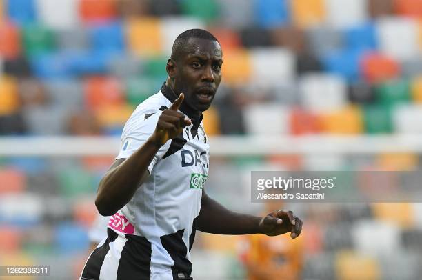 Stefano Okaka of Udinese Calcio gestures during the Serie A match between Udinese Calcio and US Lecce at Stadio Friuli on July 29, 2020 in Udine,...