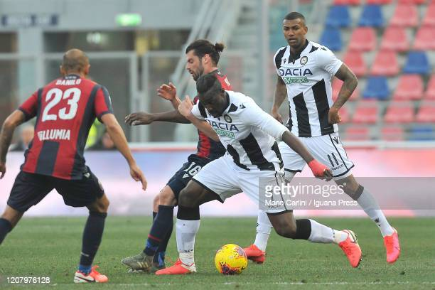 Stefano Okaka of Udinese Calcio in action during the Serie A match between Bologna FC and Udinese Calcio at Stadio Renato Dall'Ara on February 22...
